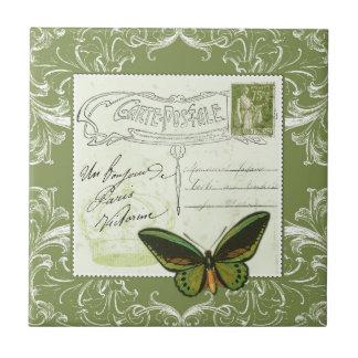 Antique French postcard with stamp Petit Carreau Carré