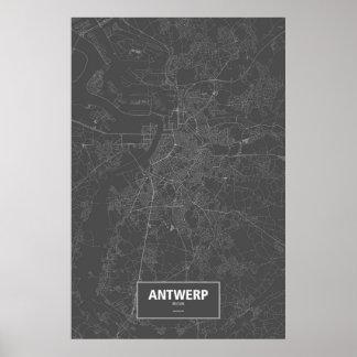 Antwerpen, wit België (op zwarte) Poster