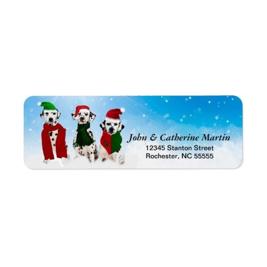 APAL - Chiens dalmatiens de Noël dans la neige Étiquette D'adresse Retour