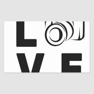 appareil-photo et amour sticker rectangulaire