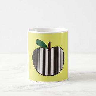 Apple rayé noir et blanc mug blanc