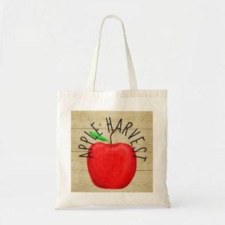 Apple rouge moissonnent le sac fourre-tout en bois