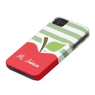 Apple rouge sur les rayures horizontales de vert coque Case-Mate iPhone 4