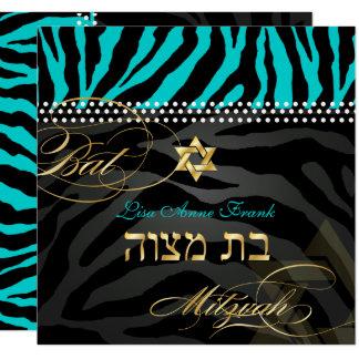 Aqua de couleur de la batte Mitzvah/DIY de zèbre Carton D'invitation 13,33 Cm