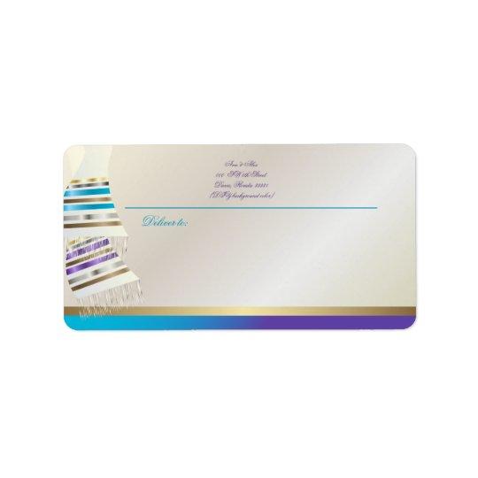 Aqua de PixDezines de ✡/Tallits pourpre Étiquette D'adresse