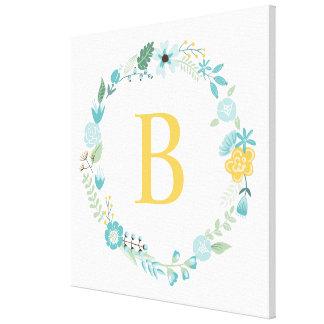 Aqua et guirlande florale décorée d'un monogramme toiles