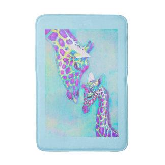 aqua et tapis pourpre de girafe tapis de bain