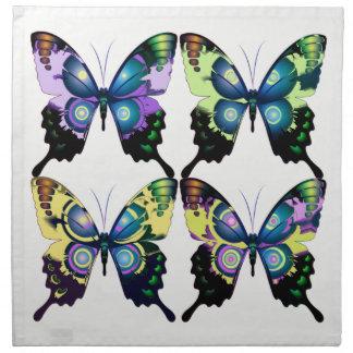 Aqua, rose, et jaune - papillons élégants serviettes en tissus