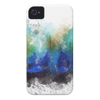 Aquarelle bleue de gondole de Venise Étuis iPhone 4