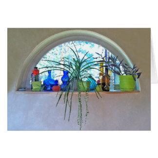 Aquarelle de fenêtre de demi-lune carte de vœux