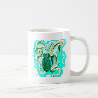 Aquarelle de Teal de poulpe Mug