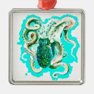 Aquarelle de Teal de poulpe Ornement Carré Argenté