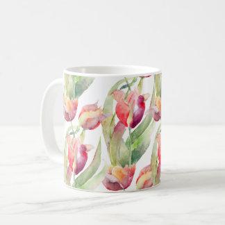Aquarelle de tulipes de ressort florale mug