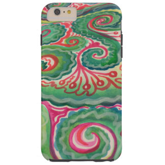 Aquarelle lunatique : Rose et vert clair Coque iPhone 6 Plus Tough
