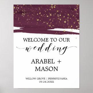 Aquarelle Marsala et accueil de mariage Poster
