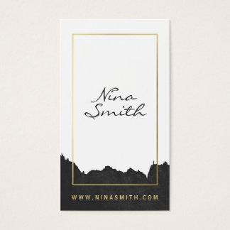 Aquarelle noire moderne élégante blanche d'or chic cartes de visite