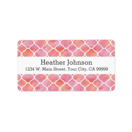 Aquarelle rose élégante de motif géométrique étiquette d'adresse