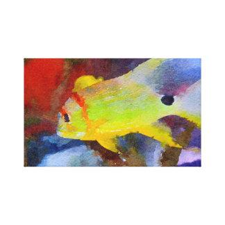 Aquarelle tropicale jaune de poissons toile