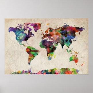 Aquarelle urbaine de carte du monde