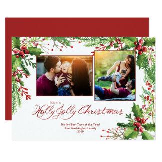 Aquarelle verte rouge deux de houx Noël de 2 Carton D'invitation 12,7 Cm X 17,78 Cm