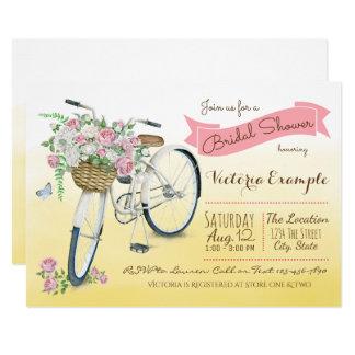 Aquarelle vintage de bicyclette de douche nuptiale carton d'invitation  12,7 cm x 17,78 cm