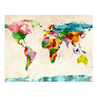 Aquarelles de carte du monde cartes postales