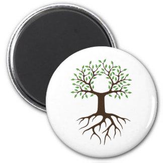 arbre avec des racines magnet rond 8 cm