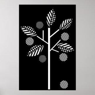 Arbre blanc noir sur l'affiche noire d'impression