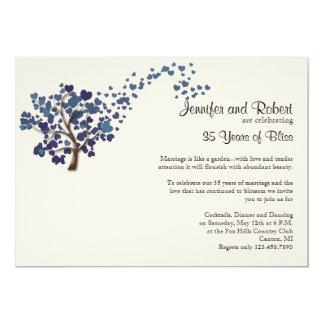 Arbre bleu de coeur sur l'anniversaire de mariage carton d'invitation  12,7 cm x 17,78 cm