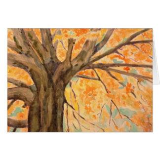 Arbre d'aquarelle dans la gloire d'automne, carte