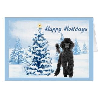 Arbre de bleu de carte de Noël de caniche