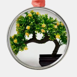 Arbre de bonsaïs ornement rond argenté