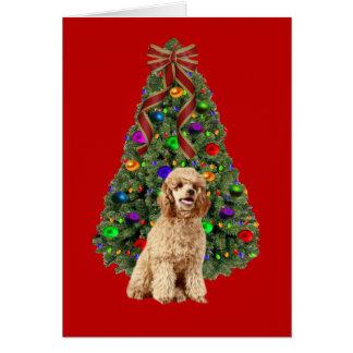 Arbre de carte de Noël de caniche