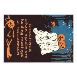 Arbre de chat noir de fantôme de lanterne de Jack Impression Photo