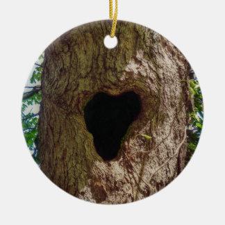 Arbre de coeur ornement rond en céramique
