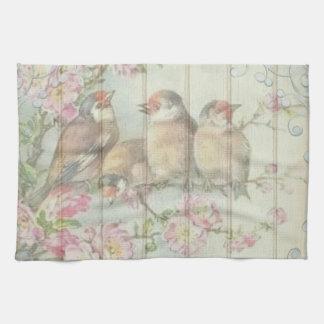 Arbre de fleur d'oiseau de chanson de serviette de