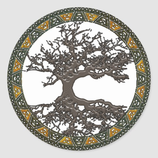 arbre de la vie celtique sticker rond zazzle. Black Bedroom Furniture Sets. Home Design Ideas