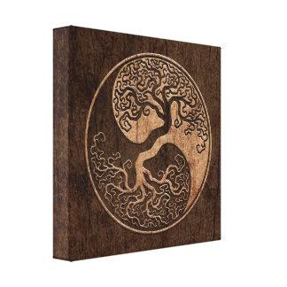 Arbre de la vie Yin Yang avec l'effet en bois de g Toiles