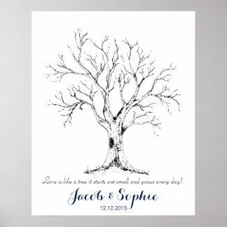 arbre de livre d'invité de mariage d'empreinte