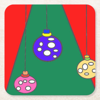 Arbre de Noël avec des ampoules sur XMAS15 rouge Dessous-de-verre Carré En Papier