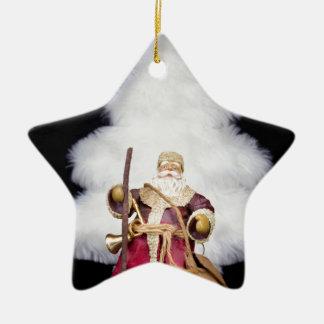 Arbre de Noël blanc de figurine du père noël sur Ornement Étoile En Céramique