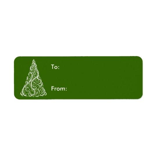 Arbre de Noël blanc sur l'étiquette verte de Étiquette D'adresse Retour