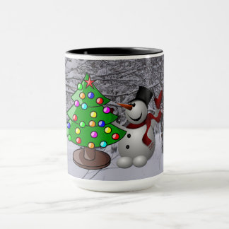 Arbre de Noël, bonhomme de neige, tasse combinée