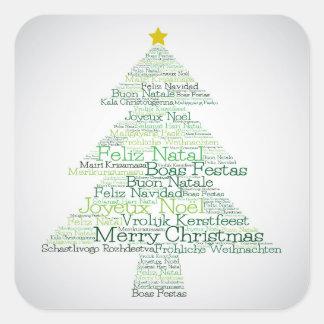"""Arbre de Noël fait de mots de """"Joyeux Noël"""" Sticker Carré"""