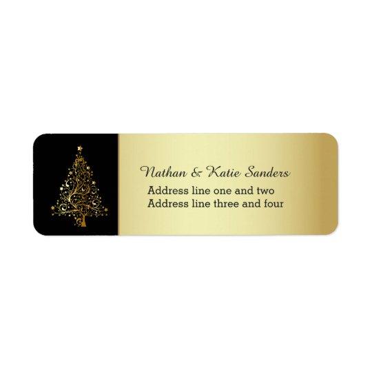 Arbre de Noël fleuri d'or Étiquette D'adresse Retour