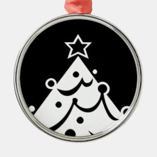 Arbre de Noël noir et blanc Ornement Rond Argenté