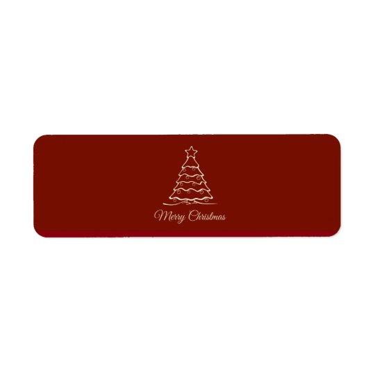 Arbre de Noël rouge Étiquette D'adresse Retour