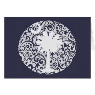Arbre de Palmetto et carte de Noël de lune