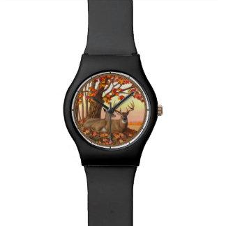 Arbre d'érable d'automne de cerf de Virginie Montre