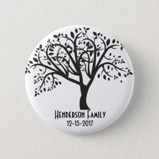 Arbre généalogique - nom de famille et dates badge rond 5 cm